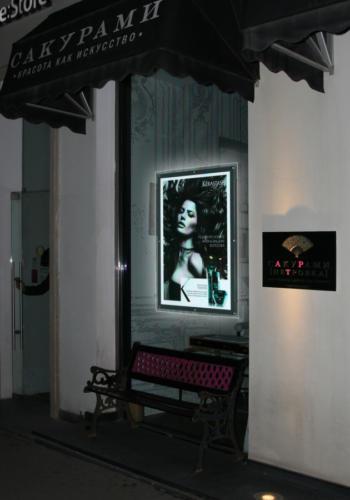 тонкие световые панели для рекламы салона красоты